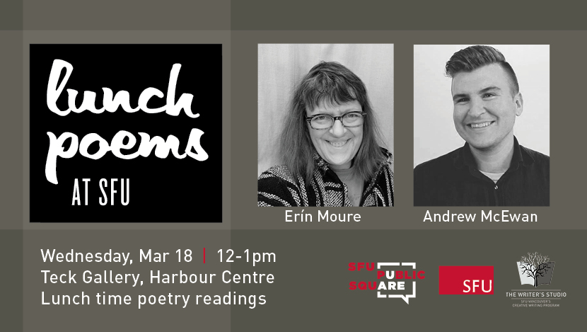 Lunch Poems at SFU featuring Erín Moure and Andrew McEwan