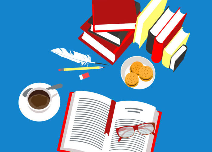 Collection of books, illustration, coffee cup, cookies, pens, books